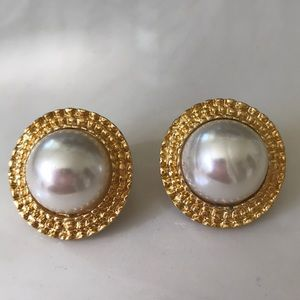 Vintage gold tone and faux pearl post earrings